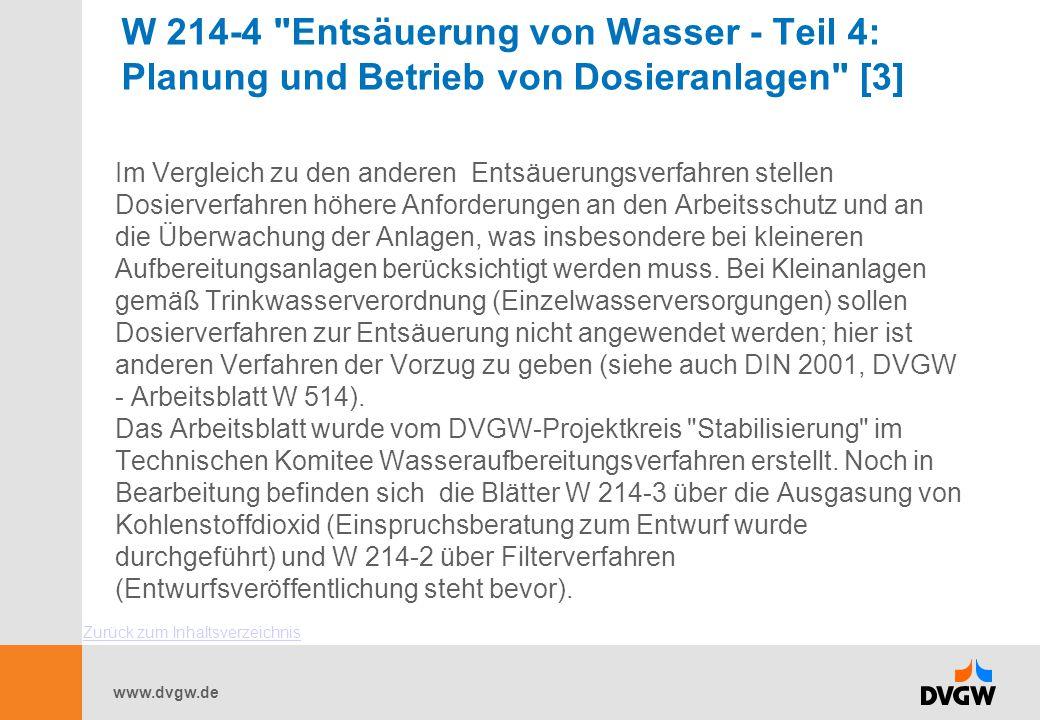 W 214-4 Entsäuerung von Wasser - Teil 4: Planung und Betrieb von Dosieranlagen [3]